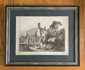 NEWLY FRAMED SAMUEL PROUT PRINT 1821 COTTAGES AT BYLAND ABBEY NEAR WASS ,THIRSK