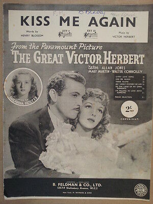 song sheet KISS ME AGAIN B flat , the great victor herbert, Susanna Foster 1915