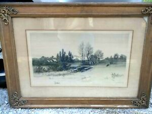 ANTIQUE-19TH-C-GW-BOHDE-ETCHING-SIGNED-IN-PENCIL-VG-CONDITION-USA