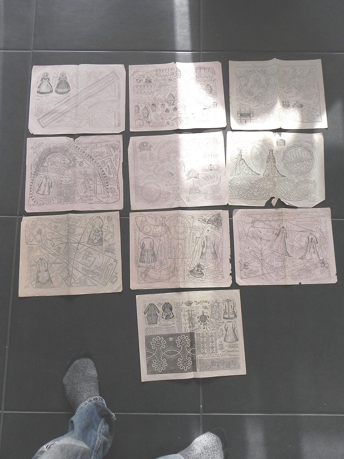 POUPEE MODELE 1877 lot de 10 planches patrons mignonettes trousseau accessoires