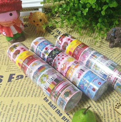 50pcs/lot Cute Cartoon Deco Scrapbooking Mixed Washi Adhesive Tape Stickers