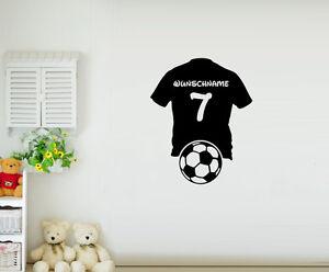 Das Bild Wird Geladen Wandtattoo Fussball Trikot Mit Wunschname Und Nummer  Kinderzimmer