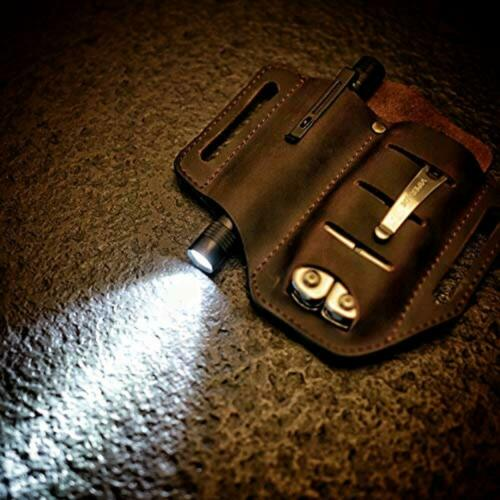 EDC Leather 2 Pockets Sheath Multitool for Knives Flashlights Tactical Pen Tool