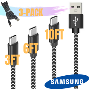 3 Pack USB Type C Cable Fast Charge Cord Braided For Samsung Galaxy S10 S9 HTC