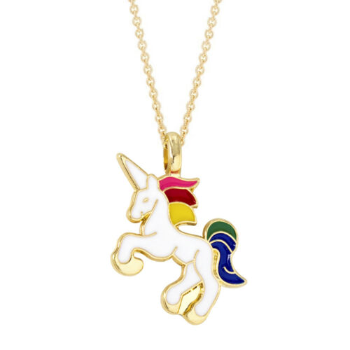 Cute Children Unicorn Enamelled Gold Plated Necklace Pendant Gift Present