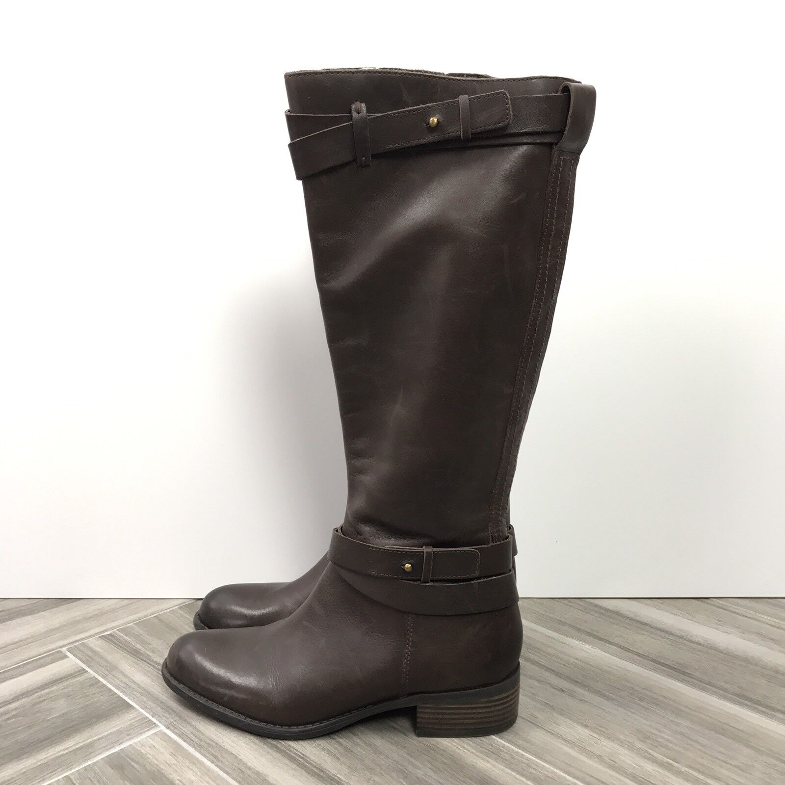 Franco Sarto L-Canary Brown Knee Hight Winter Casual Daily Leather Boots Size 7M