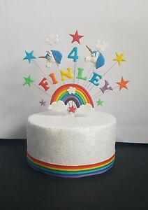 Image Is Loading Rainbow Blue Unicorn Birthday Cake Topper Personalised Name