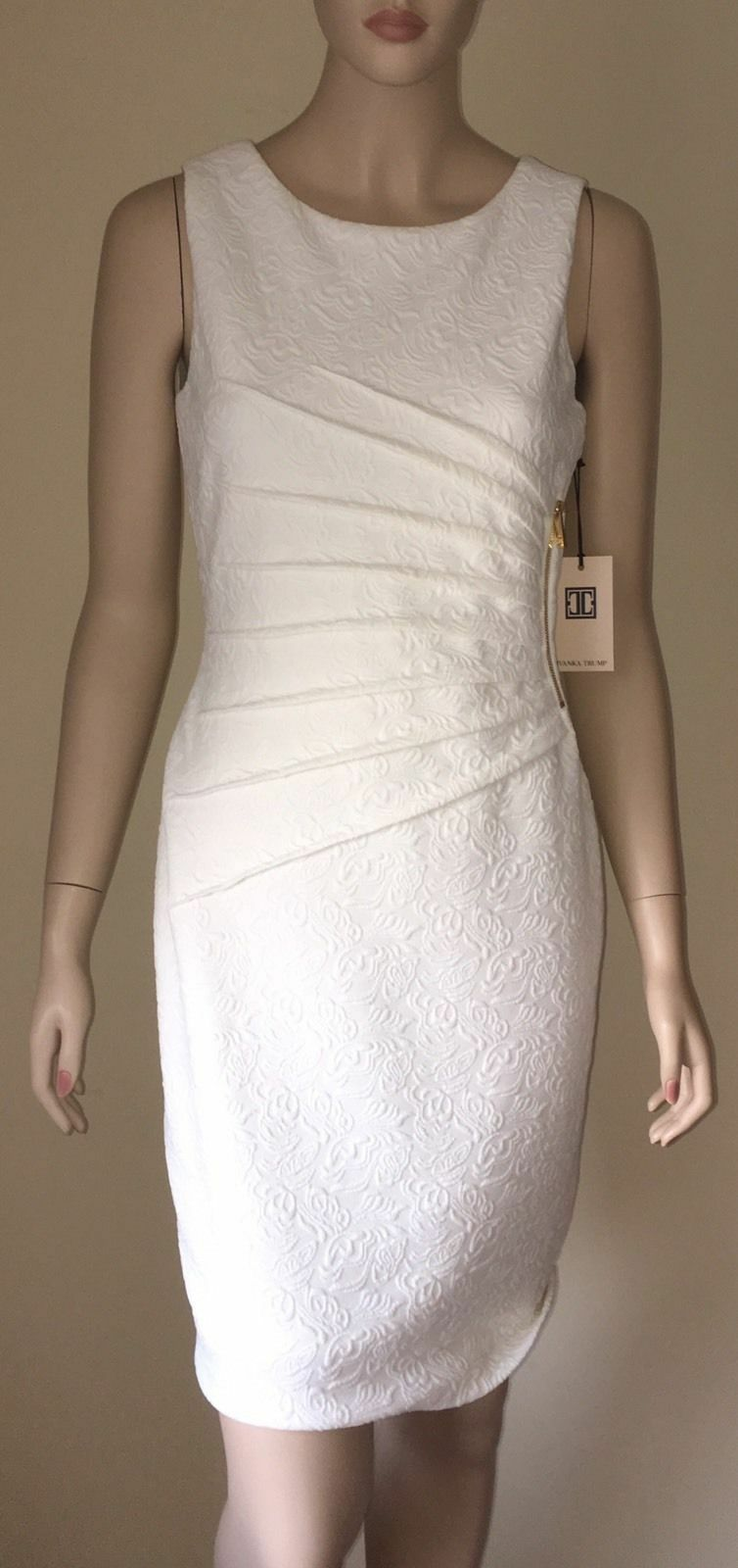 IVANKA TRUMP Textured Sunburst Sheath Dress Size 10 Ivory NWT