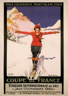 Vintage Ski Posters FRANCE FOR WINTER SPORTS 1950/'s 250gsm Art Deco Print
