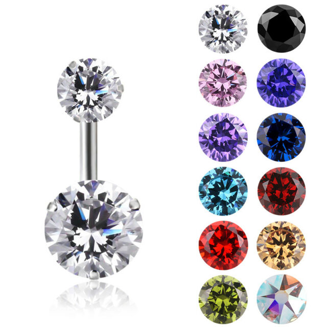 Double Gem Stainless Steel Belly Ring Button Navel Bars Ring Body Piercing
