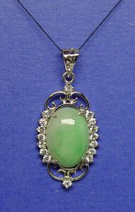 Silver-925-light-green-jadeite-pendant-large-natural-jade-oval-12mm-x16-mm