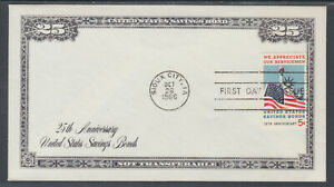 US-Planty-1320-6-FDC-1966-5c-Savings-Bonds-Border-Craft-FIRST-CACHET