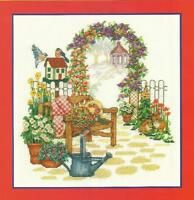 Country Garden Bench Counted Cross Stitch Kit - Flowers Birds Bunnies