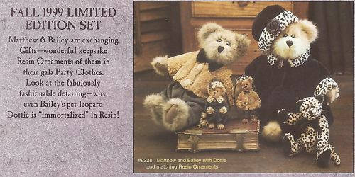 BOYDS BOYDS BOYDS BEARS LIMITED EDTION FALL '99 MATTHEW & BAILEY a902a8