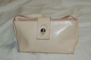 FURLA-Cream-Leather-Pink-Trim-Shoulder-Bag