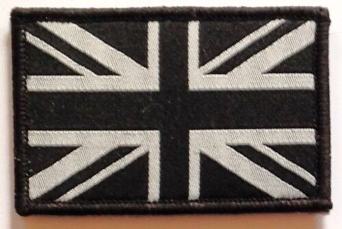 Forces Style Union Flag Black /& Grey Sew On /& Velcro Embroidered Patch Badge