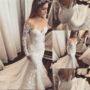 9d5a536fd5a 2018 Sexy Mermaid White Ivory Wedding Dress Lace Bridal Gown Custom ...