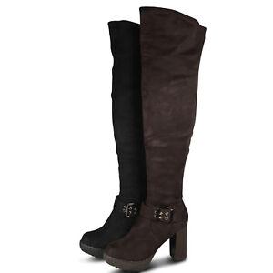 St862 High Stiefel Neu Plateau Heels Overknee Boots Damen Überknie Zu Details Stiefeletten PZiXku