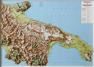 Cartina Puglia Albania.Puglia E Basilicata Cartina Regionale In Rilievo 99x72 Cm Mappa Carta L A C Ebay