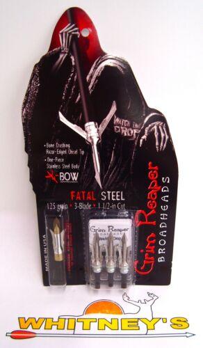 """#1313 125 Grain 1 1//2/"""" Cut Grim Reaper Fatal Steel Crossbow Broadheads"""