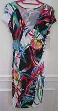 Joseph Ribkoff Size 8 Soft Bodycon Wrap Dress Tropical Print Pattern Colors