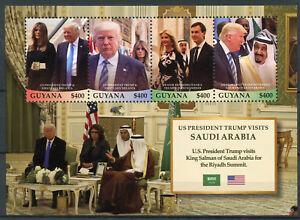 Guyana 2018 Neuf Sans Charnière Le Président Américain Donald Trump Arabie Saoudite Roi Salman 4 V M/s Timbres-afficher Le Titre D'origine
