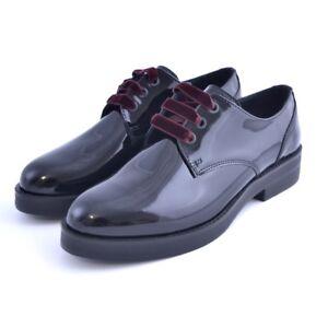 quality design 1d695 522ca Dettagli su Scarpe stringate shoes Soldini donna woman vernice nero  bordeaux made in italy