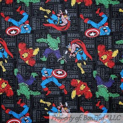 BonEful Fabric FQ Cotton Quilt Block Super Hero Captain America Comic Avengers L