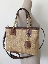 Michael Kors Walnut Brown Leather Natural Straw Rosalie Medium EW Tote Crossbody