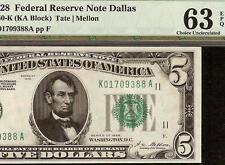 UNC 1928 $5 DOLLAR BILL DALLAS NUMERICAL GOLD ON DEMAND FED NOTE F 1950-K PMG 63