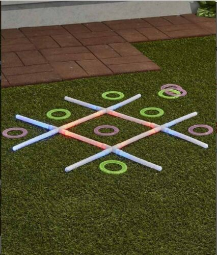 Tic Tac Toe Light-Up Toss Game Lights Up for Day Or Nightime Fun Battery Powered