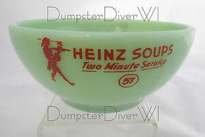 Rare-Heinz-57-Soup-two-minute-service-bowl-jadite-jadeite-Fire-King-40s-1950s