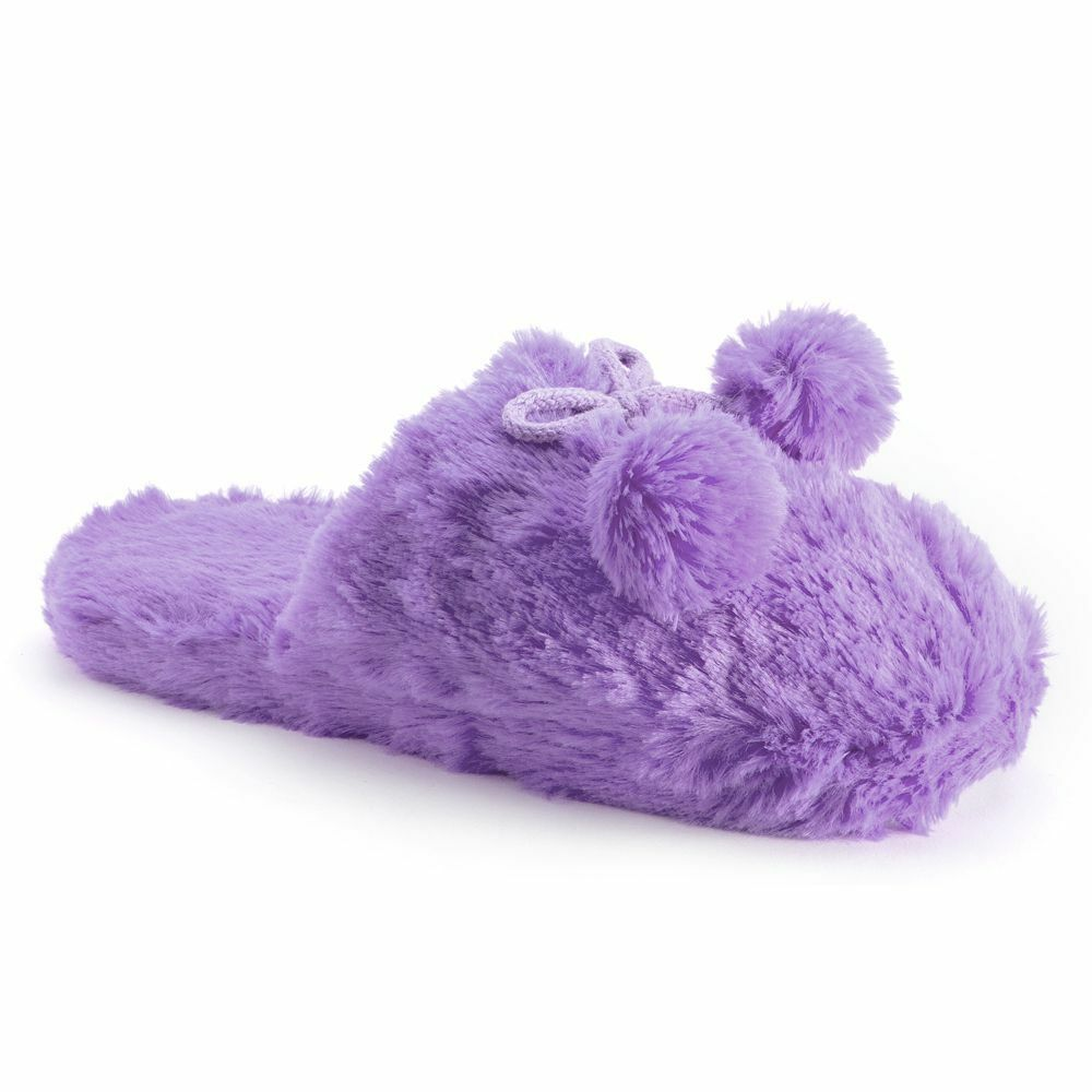 SO Plush Pom Pom Clog Slippers Scuffs ~ Size Small (5-6) ~ Purple