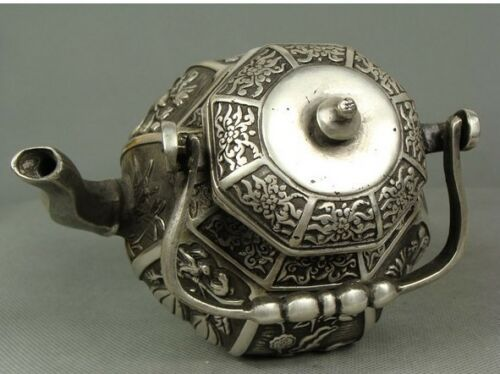 Collectable Chinese Tibet silver Scenery Teapot Tea Sets