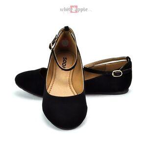 Black Round Toe Court Shoes