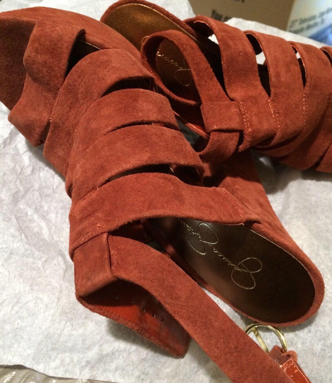 10 Jessica Simpson PETRA Suede Orange/Braun Suede PETRA Strappy Platform Heels Schuhes New 6b32f9