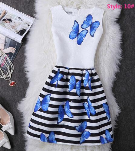 Fashion Kids Girls Women Sleeveless Printing Belted Skater Party Mini Dress