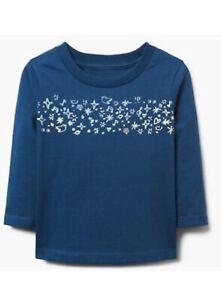 Gymboree Baby Girl's Long Sleeve Shirt Blue & Silver Tee NWT