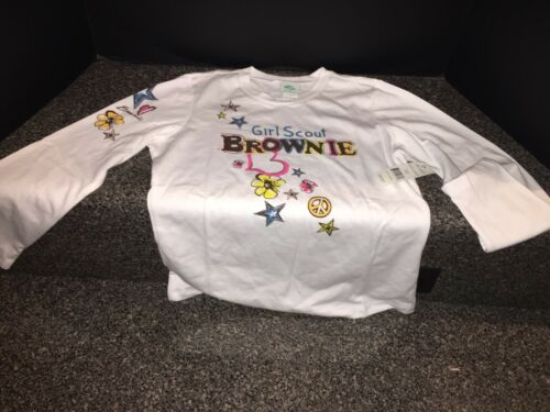 Large Girls 14//16 Girl Scouts Brownie Symbols Long Sleeve Shirt HTF NWT