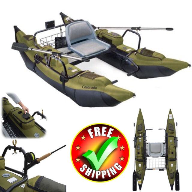 Fishing Kayak 9 Pontoon Boat Inflatable Aluminum Oars Accessories Lake River