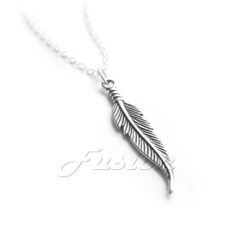 Solid .925 Sterling Silver Feather Pendant Charm Necklace /& Curb Chain P013