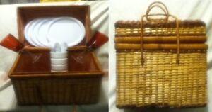 Wicker-Picnic-Basket-Check-Hamper-Handle-Chest-Set-Wine-Goblets-Dishes-Utensils