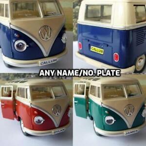 PERSONALISED PLATE GIFT 1/24 17cm VW Camper Van Bus Boys Girls Toy Model Present