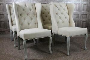 Image Is Loading FRENCH STYLE BUTTON BACK WINGED DINING CHAIRS IN