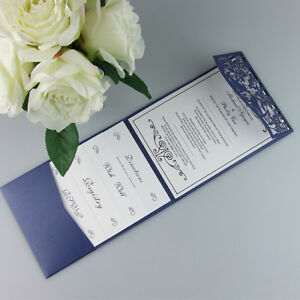 Details About 50 Laser Cut Birds Pocketfold Wedding Invitations Diy Pocket Fold Party Invites