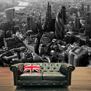 Londres-HORIZON-urbain-noir-et-blanc-photo-mural-moderne-decoration-art-Rainbow