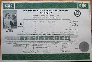 Pacbell-Pacific-Northwest-Bell-Telephone-1970-Bond-Stock-Certificates-100-PIECES
