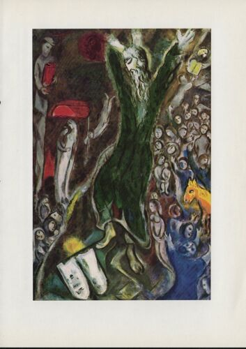 """1963 Vintage /""""MOSES BREAKING THE TABLETS OF THE LAW/"""" by CHAGALL COLOR Lithograph"""