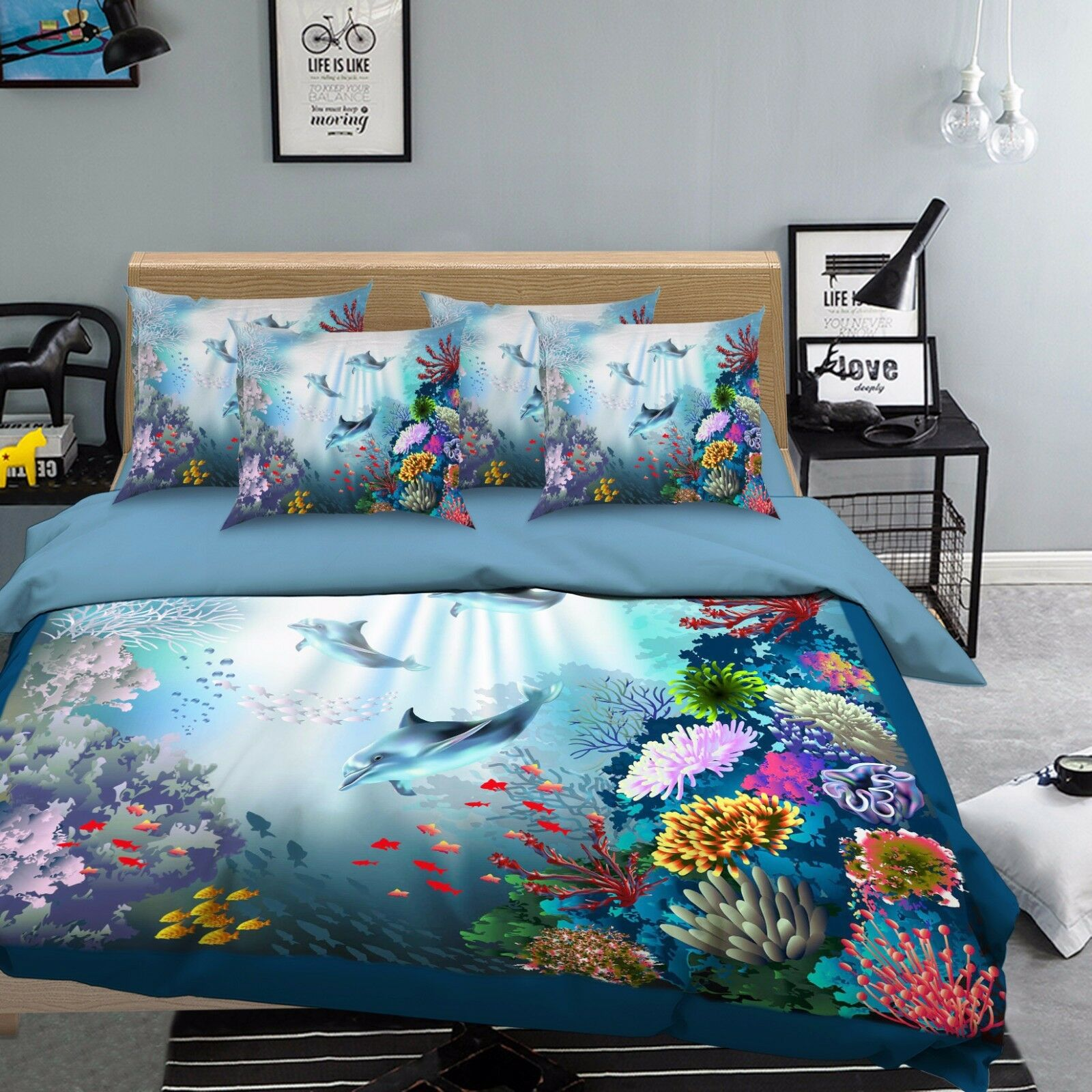 3D Farbe Koralle 44 Bett Kissenbezüge steppen Duvet Decken Set Single DE Sunmmer