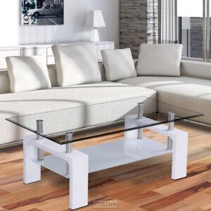Tavolino da Salotto Tavolo Tavolo di Vetro Bianco Tavolino Soggiorno ...